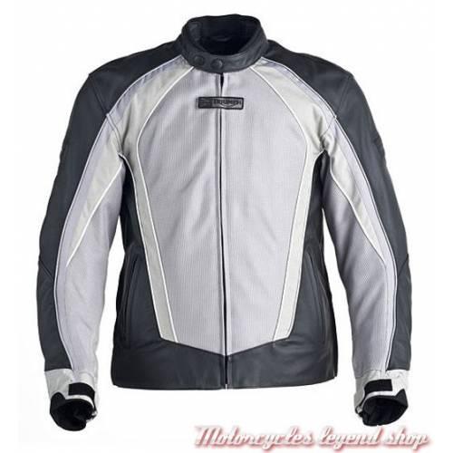 Blouson cuir Falcon, homme, cordura et mesh, ventilé, noir et gris clair, Triumph MLPS12012