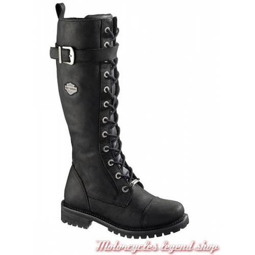 Bottes Savannah femme, à lacets, zippées, cuir noir, Harley-Davidson D81489