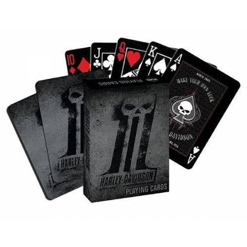 Jeu de 54 cartes One Skull, noir, gris, étui carton, Harley-Davidson GA71875