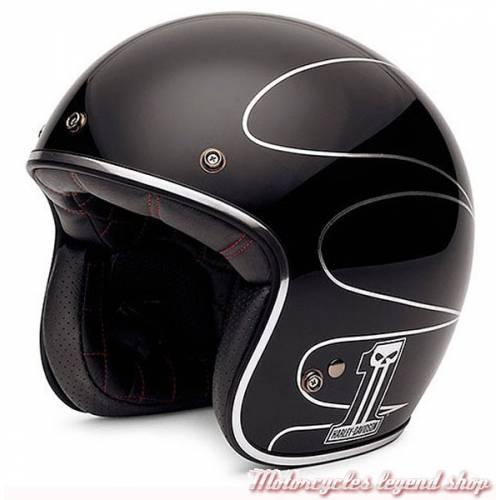 Casque Jet Elite Retro mixte, noir, scallop argent, Harley-Davidson EC-98307-14F