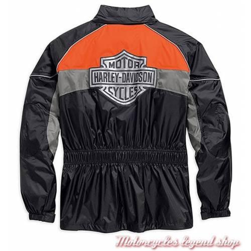 Ensemble de pluie High Tail, homme, noir, orange, nylon, imperméable, indéchirable, 3M réfléchissant, Harley-Davidson 98337-15VM