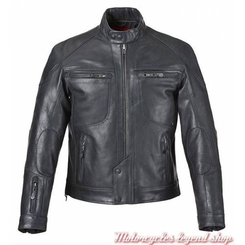Blouson cuir Wykin, homme, noir, perforé, Triumph MLHS15158