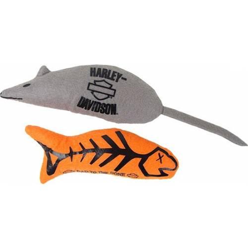 2 Jouets pour chat, poisson et souris, noir et orange, Harley-Davidson H8100