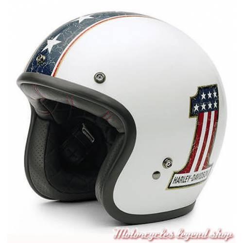 Casque Jet Americana Retro mixte, blanc brillant, Number One, Harley-Davidson EC-98311-15E