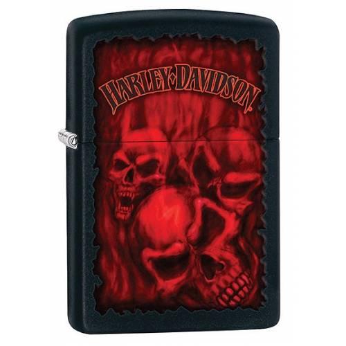 Zippo essence Harley-Davidson skulls flammés noir mat, rouge, 28826