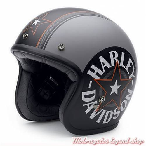 Casque Jet Grey Star Retro Harley-Davidson