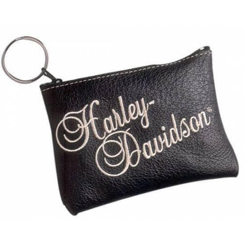 Porte monnaies zippé cuir femme, noir, brodé, Harley-Davidson CP13H