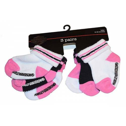 3 paires de chaussettes bébé fille, 6-12 mois, coton, rose, blanc, noir, Harley-Davidson S9AGI63HD