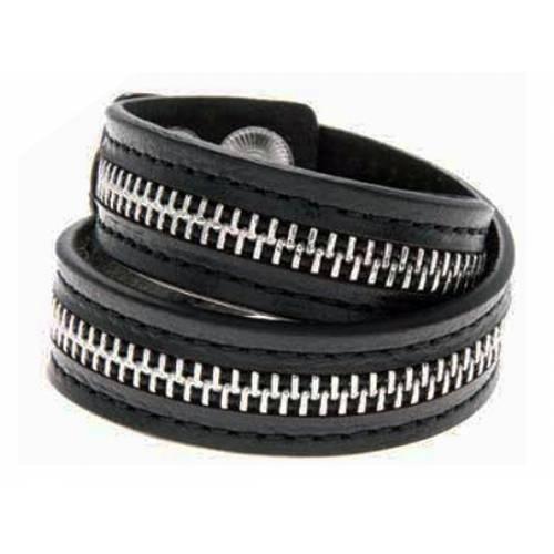 Bracelet double cuir Zipper femme