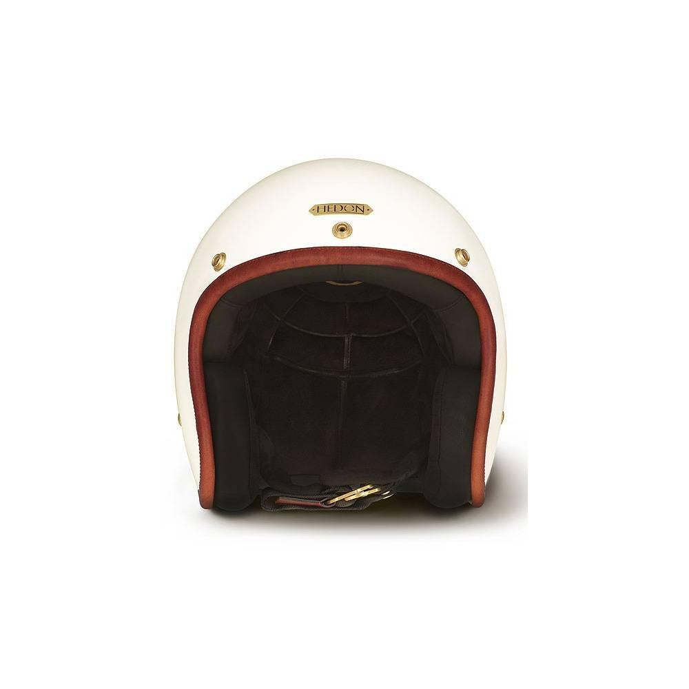 Casque jet Hedonist Empress, mixte, blanc nacré, jonc rouge, intérieur cuir, HEDON