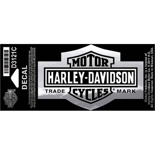Sticker Long Bar & Shield chrome, petite taille, Harley-Davidson D3121C