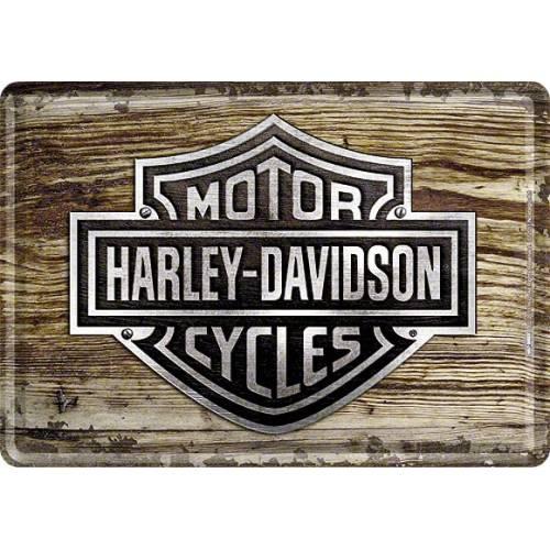 Carte postale métal Wood Bar & Shield, Harley-Davidson 10119