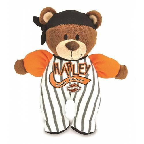 Ourson doudou hochet garçon, baseball, orange, blanc et noir, 20 cm, Harley-Davidson 20802