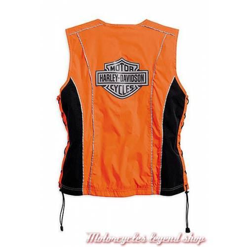 Gilet sans manche sécurité femme, nylon, orange et noir, 3M Scothlite, Harley-Davidson 98289-14VW