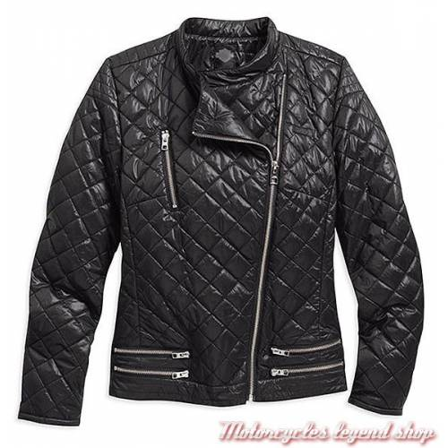 Veste zippée Biker Black Label, femme, matelassée, noir, nylon, Harley-Davidson 97565-16VW