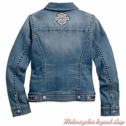 Veste en jeans, femme, coton, Strass, bleu délavé, Harley-Davidson 99169-16VW