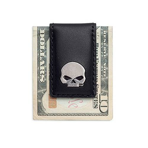 Porte billet Skull, cuir noir, aimanté, Harley-Davidson 99445-16VM