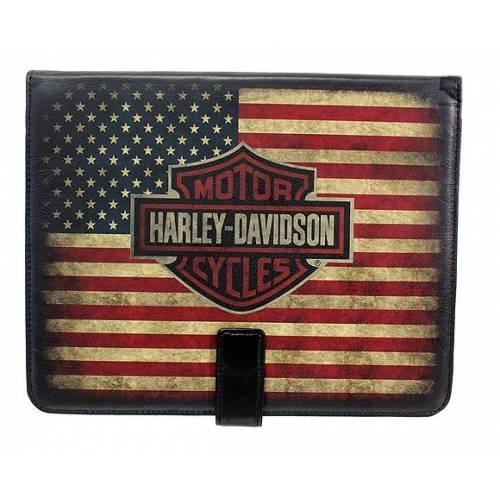 Etui iPad Heritage, cuir, drapeau U.S, Harley-Davidson HDMTC10530
