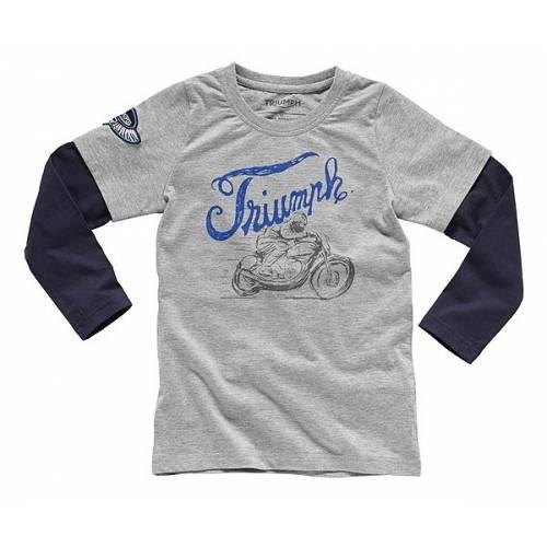 Tee-shirt Cabe enfant, gris et bleu, coton, manches longues, Triumph MJLS16042