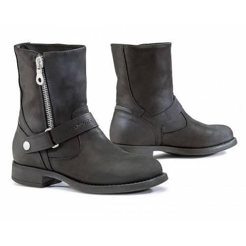 Bottines Eva femme technique, waterproof, zippées, cuir noir huilé, Forma