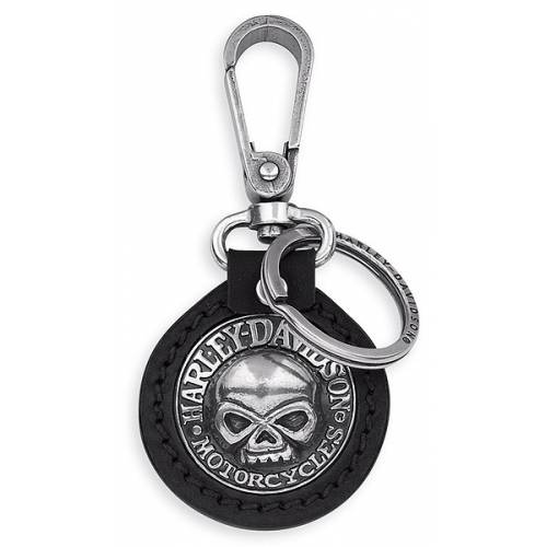 Porte clés Skull, cuir et vieil argent, Harley Davidson 99443-06V