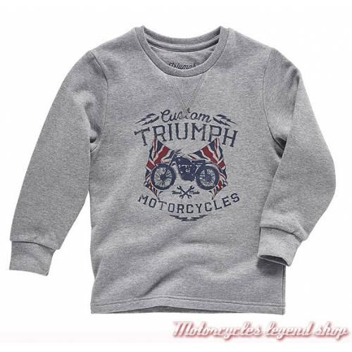Sweatshirt Ford Triumph enfant, gris, coton, col rond, Triumph MJWA16040