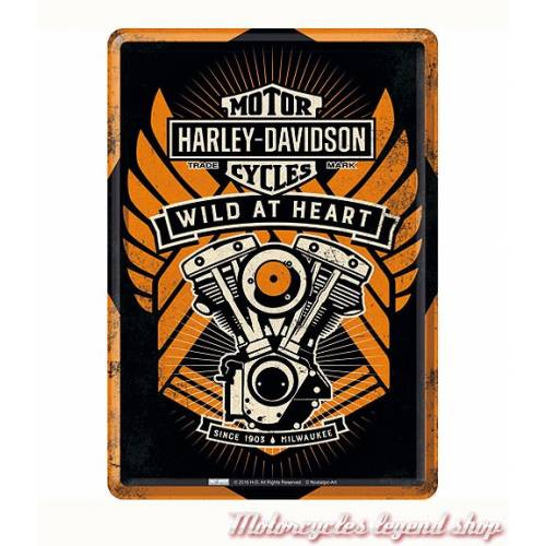 Carte postale Wild at Heart Harley-Davidson, metal, enveloppe,10292
