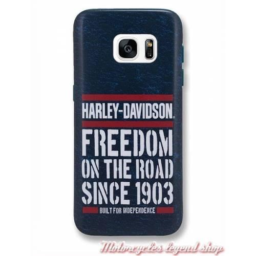 Coque Galaxy S7 Americana, bleu, blanc, rouge, Harley-Davidson 7843