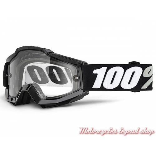 Masque The Accuri OTG Tornado 100%, spécial lunettes, cross, écran incolore, noir