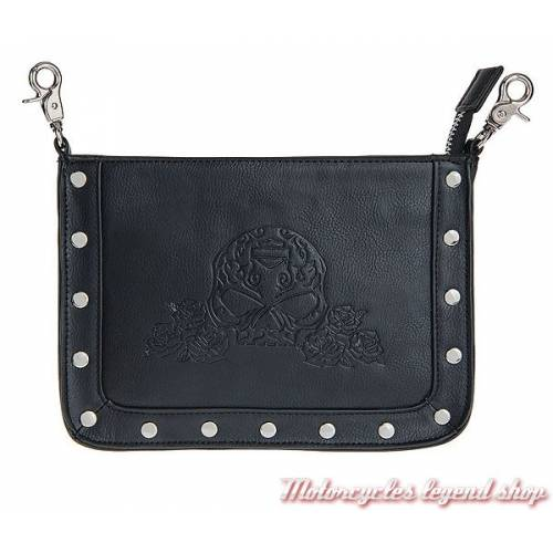 Pochette Rosalita Harley-Davidson femme, cuir vegan, noir, skull, HDWBA11077-BLK