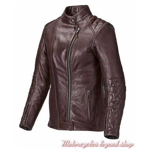 Blouson cuir Andorra Triumph femme, rouge bordeau, matelassé, vintage, MLLS17110
