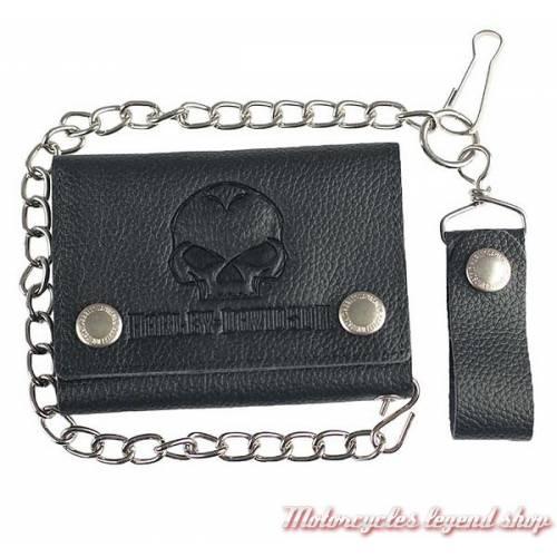Portefeuille Skull black Harley-Davidson, cuir noir grainé, chainette, XML4721-BLACK