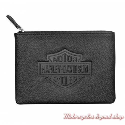 Grand porte monnaies Bar & Shield Harley-Davidson, cuir noir grainé, zip, ZWL4761-BLACK