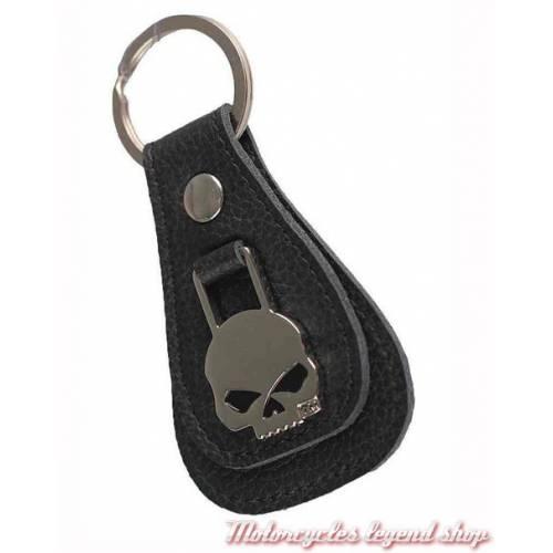 Porte clés cuir Skull Willie G. Harley-Davidson, noir, médaillon métal, XFL0023-BLACK