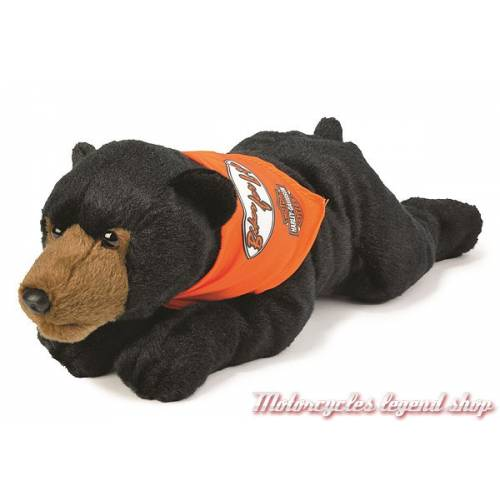 Peluche Ours Harley-Davidson, noir et marron, 35 cm, 20807
