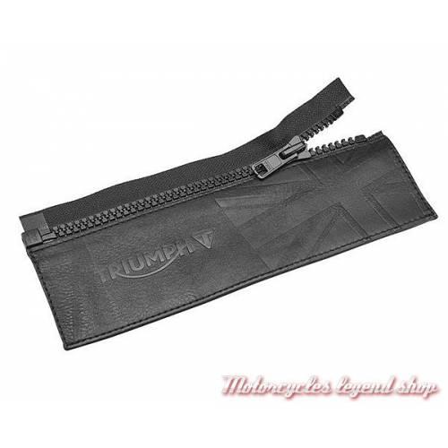 Connecteur de jeans Triumph, zip, cuir noir gravé, MFNS16607