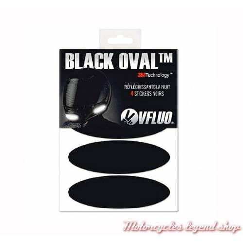 4 Stickers noirs réfléchissants Black Oval, homologués, VFLUO