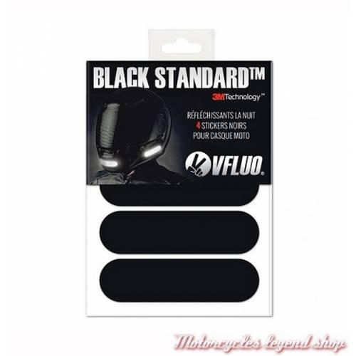 4 Stickers noirs réfléchissants Black Standard, homologués, VFLUO