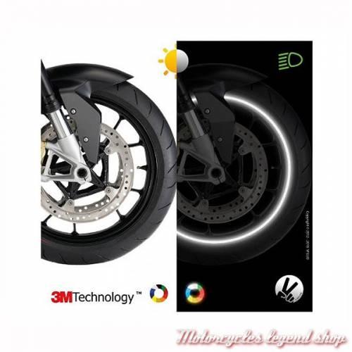 Bandes réfléchissantes jantes moto Circular, noir, 3M, largeur 7 mm, VFLUO