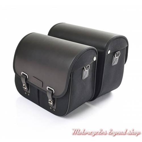 2 Sacoches Triumph, noires, coton ciré et cuir, pour Triumph Bobber,  A9510172