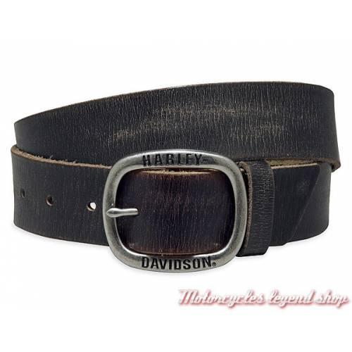 Ceinture Black Label Harley-Davidson homme cuir noir vieilli, boucle amovible, 97773-17VM