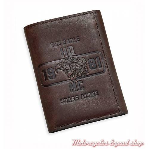Portefeuille Eagle Soars Alone Harley-Davidson, 3 volets, cuir marron, 97780-17VM