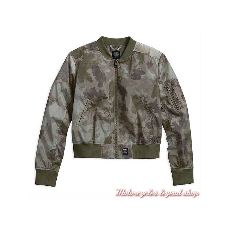 blouson bomber camo black label harley davidson femme motorcycles legend shop. Black Bedroom Furniture Sets. Home Design Ideas
