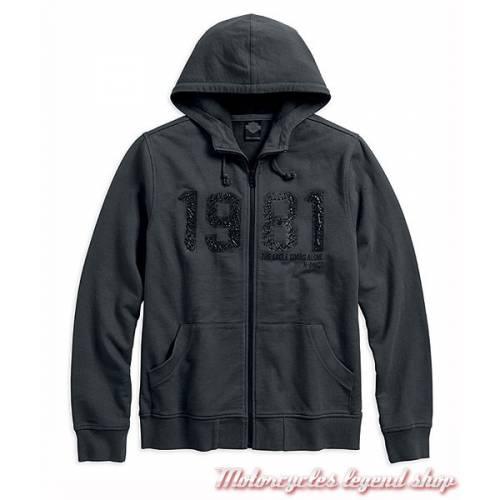 Sweatshirt 1981 Black Label Harley-Davidson, homme, gris, zippé, à capuche, coton, 96626-17VM