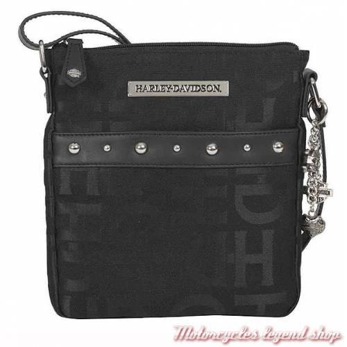 Sac à main besace H-D Logo, tissu, monogramme H-D, rivets déco chromés, Harley-Davidson HD3472J-BLACK