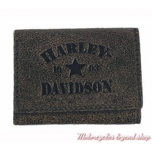 Portefeuille Military Harley-Davidson, cuir craquelé noir, brun, BM6150L-TANBLK