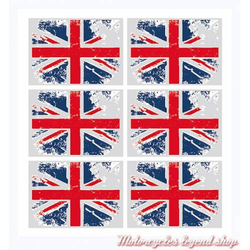 6 Stickers réfléchissants Union Jack pour casque, SBR06