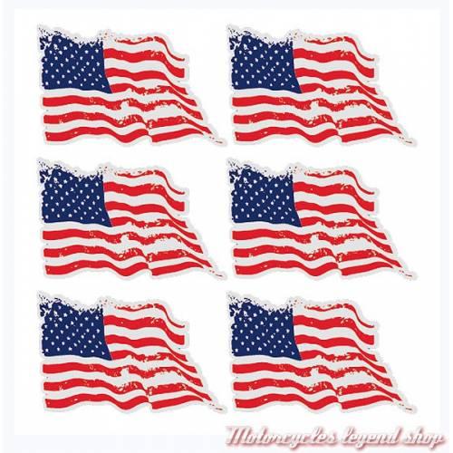 6 Stickers réfléchissants USA pour casque, SBR05