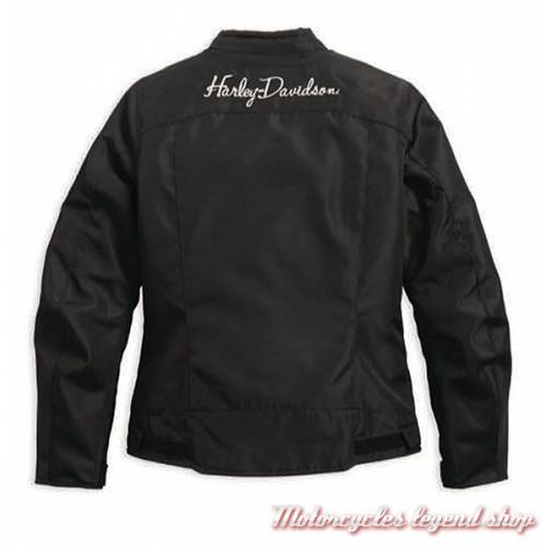 Blouson textile dos Rumor Harley-Davidson femme noir, polyester, imperméable, homologué, 97219-17EW