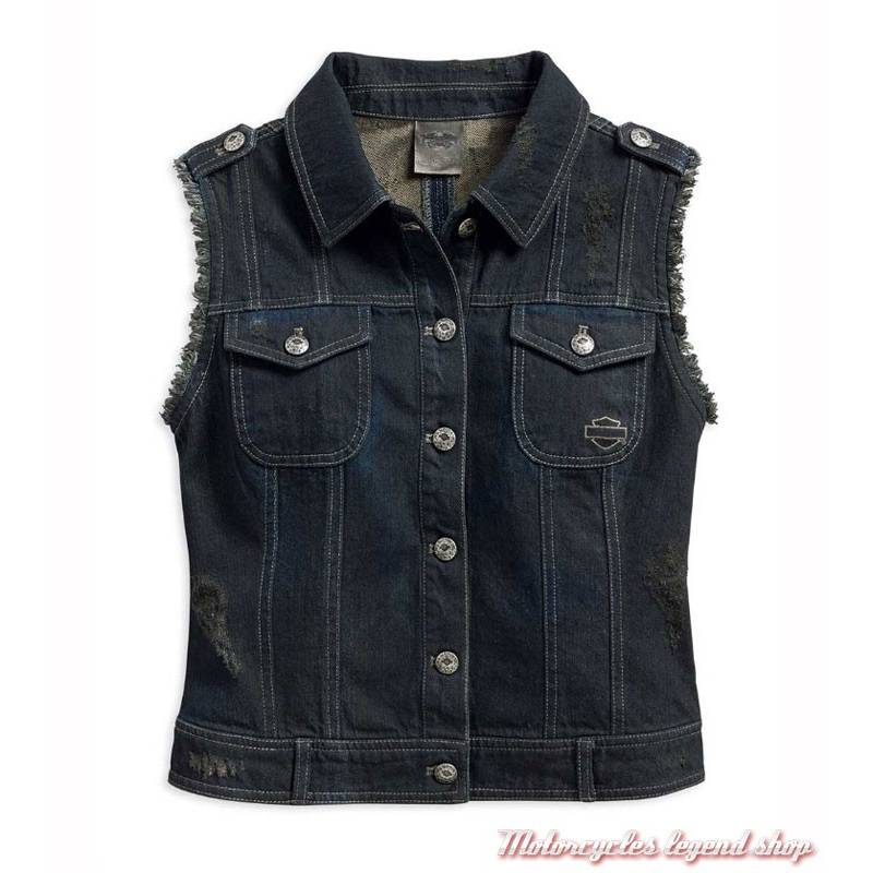 veste jean sans manche americana harley davidson. Black Bedroom Furniture Sets. Home Design Ideas